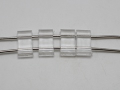100 Clear Transparent Acrylic Flat Square Beads Two Hole 18X9mm