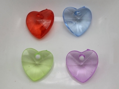100 Mixed Colour Transparent Acrylic Love Heart Charm Pendants Top Drilled 13mm