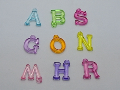 100 Assorted Transparent Acrylic Alphabet Letter Charm Pendants 18mm