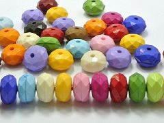 100 Mixed Bubblegum Color Acrylic Faceted Rondelle Beads 8X12mm