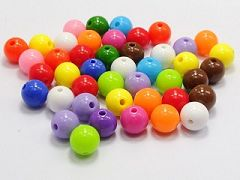 "100 Mixed Bubblegum Color Acrylic Round Beads 10mm(3/8"") Smooth Ball"