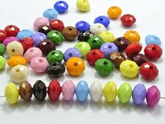 200 Mixed Bubblegum Color Acrylic Faceted Rondelle Beads 6X10mm