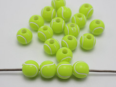 100 Florescent Yellow Tennis Ball Pattern Acrylic Round Beads 12mm