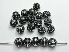 100 Black Basket Ball Pattern Acrylic Round Beads 12mm