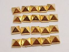 200 Gold Tone Metallic Acrylic Rock Punk Pyramid Spike Studs 7X7mm No Hole