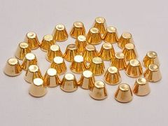 200 Gold Tone Metallic Acrylic Rock Punk Flat Head Spike Studs 6X4mm No hole
