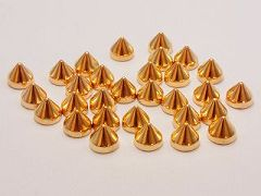 200 Gold Tone Metallic Rock Punk Spike Acrylic Taper Stud 7X6mm No Hole