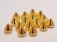 100 Gold Tone Metallic Acrylic Flatback Spike Studs Round edge 12X11mm No hole