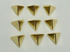 200 Gold Tone Metallic Acrylic Rock Punk Triangle Pyramid Spike Studs 12mm No Hole