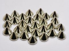 100 Silver Tone Metallic Rock Punk Acrylic Spike Taper Stud 10X8mm No Hole
