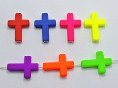 50 Mixed Matte Fluorescent Neon Beads Acrylic Cross Charms Beads 24X18mm