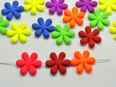 "50 Mixed Matte Fluorescent Neon Beads Acrylic Flower Beads Charms 23mm(0.91"")"