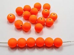 "100 Matte Fluorescent Neon Orange Beads Acrylic Round Beads 10mm(3/8"")"