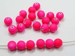 "100 Matte Fluorescent Neon Hot Pink Beads Acrylic Round Beads 10mm(3/8"")"