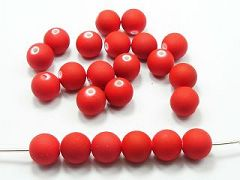 "100 Matte Fluorescent Neon Red Beads Acrylic Round Beads 10mm(3/8"")"