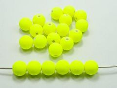 "100 Matte Fluorescent Neon Yellow Beads Acrylic Round Beads 10mm(3/8"")"