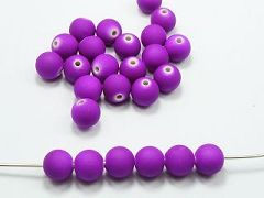 "100 Matte Fluorescent Neon Purple Beads Acrylic Round Beads 10mm(3/8"")"