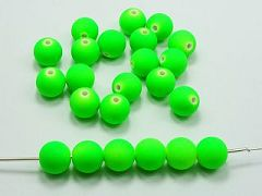 "100 Matte Fluorescent Neon Green Beads Acrylic Round Beads 10mm(3/8"")"