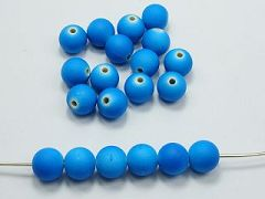 "100 Matte Fluorescent Neon Blue Beads Acrylic Round Beads 10mm(3/8"")"