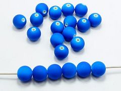 "100 Matte Fluorescent Neon Royal Blue Beads Acrylic Round Beads 10mm(3/8"")"