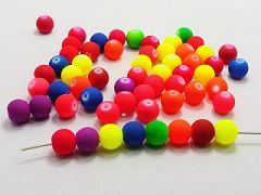 "100 Mixed Matte Fluorescent Neon Beads Acrylic Round Beads 10mm(3/8"")"