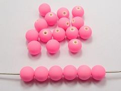 "100 Matte Fluorescent Neon Pink Beads Acrylic Round Beads 12mm(1/2"")"