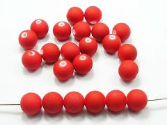 "100 Matte Fluorescent Neon Red Beads Acrylic Round Beads 12mm(1/2"")"