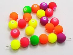 "50 Mixed Matte Fluorescent Neon Beads Acrylic Round Beads 14mm(0.55"")"