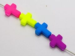 50 Mixed Matte Fluorescent Neon Beads Acrylic Cross Beads Charms 16X12mm