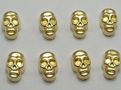 100 Gold Tone Metallic Acrylic Skull Studs 12X7mm No Hole Cell Phone Deco