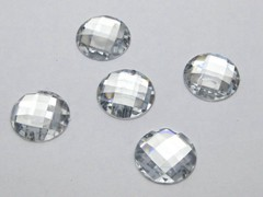 100 Clear Flatback Acrylic Faceted Round Sewing Rhinestone Button 16mm Sew on bead