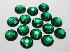100 Green Flatback Acrylic Faceted Round Sewing Rhinestone Button 16mm Sew on bead