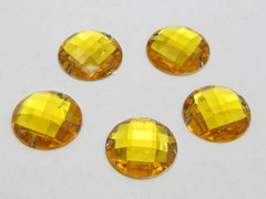 100 Gold Flatback Acrylic Faceted Round Sewing Rhinestone Button 16mm Sew on bead