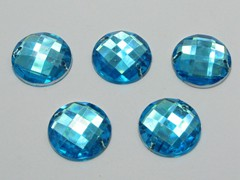 100 Blue Flatback Acrylic Faceted Round Sewing Rhinestone Button 16mm Sew on bead