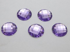 100 Purple Flatback Acrylic Faceted Round Sewing Rhinestone Button 16mm Sew on bead
