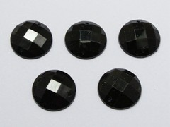 100 Jet Black Flatback Acrylic Faceted Round Sewing Rhinestone Button 16mm Sew on bead