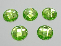 100 Soft Green Flatback Acrylic Faceted Round Sewing Rhinestone Button 16mm Sew on bead