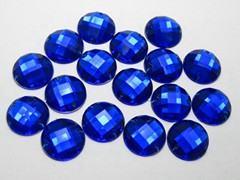 100 Royal Blue Flatback Acrylic Faceted Round Sewing Rhinestone Button 16mm Sew on bead