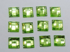 100 Soft Green Flatback Acrylic Square Sewing Rhinestone Button 14mm Sew on bead