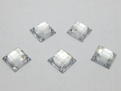 100 Clear Flatback Acrylic Square Sewing Rhinestone Button 14mm Sew on bead