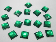 100 Green Flatback Acrylic Square Sewing Rhinestone Button 14mm Sew on bead