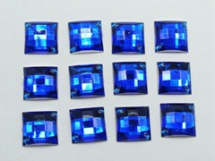 100 Royal Blue Flatback Acrylic Square Sewing Rhinestone Button 14mm Sew on bead