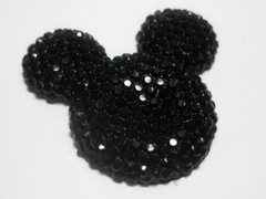 20 Black Flatback Resin Dotted Rhinestone Mickey Mouse Face Cabochon 30mm