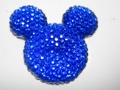 20 Royal Blue Flatback Resin Dotted Rhinestone Mickey Mouse Face Cabochon 30mm
