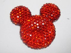 20 Red Flatback Resin Dotted Rhinestone Mickey Mouse Face Cabochon 30mm