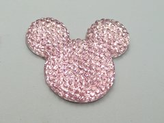 20 Pink Flatback Resin Dotted Rhinestone Mickey Mouse Face Cabochon 30mm