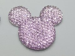 20 Purple Flatback Resin Dotted Rhinestone Mickey Mouse Face Cabochon 30mm