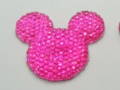 20 Bright Pink Flatback Resin Dotted Rhinestone Mickey Mouse Face Cabochon 30mm