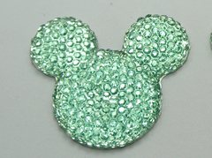 20 Blue Flatback Resin Dotted Rhinestone Mickey Mouse Face Cabochon 30mm