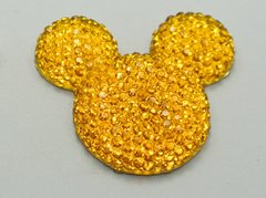 20 Yellow Flatback Resin Dotted Rhinestone Mickey Mouse Face Cabochon 30mm